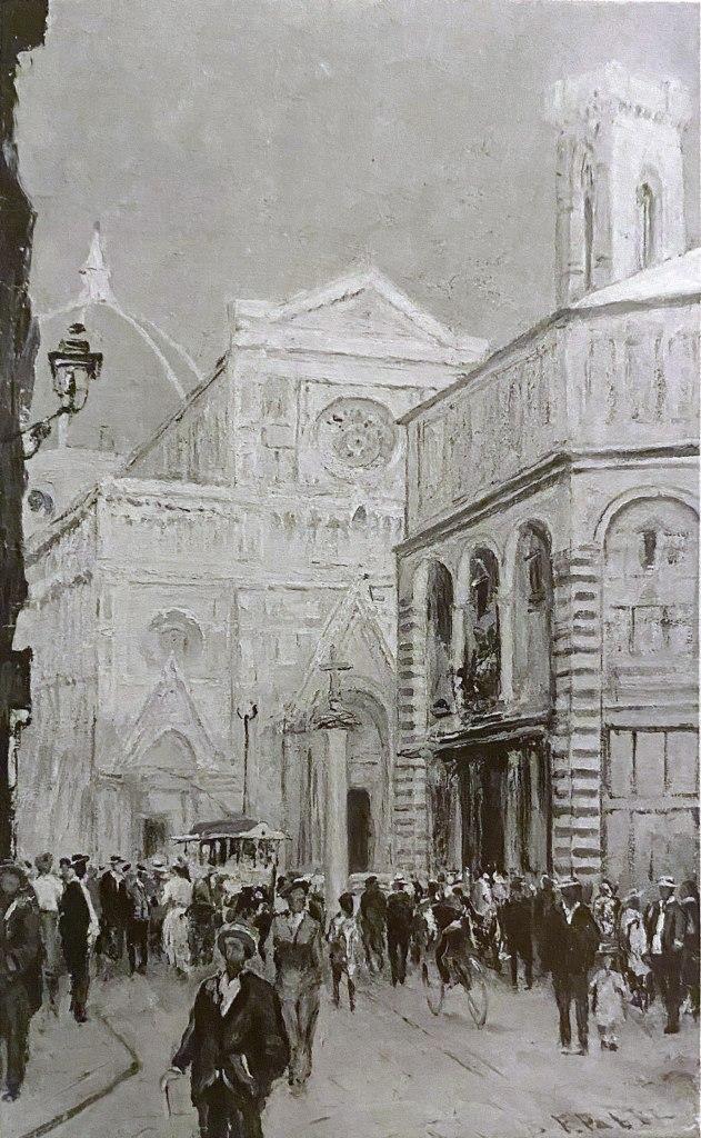 Veduta della Piazza del Duomo di Firenze e del Battistero da via de' Cerretani, realizzato dall'artista Fabio Fabbi